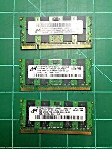 Micron 2 GB SO-DIMM 800 MHz DDR2 Memory - MT16HTF25664HY-800E1 - 2GBx3 = 6GB