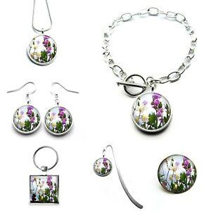 Sweet Pea Flower Photo Bracelet Earrings Necklace Keyring Brooch Bookmark