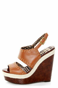JESSICA SIMPSON Geno Shoes Leather Open Toe Wedge    Size 8 M or 38
