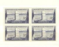 YVERT N° 922  BLOC DE 4 NARVIK 1940 TIMBRES FRANCE NEUFS sans charnières