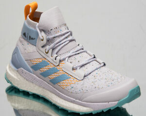adidas Terrex Free Hiker Parley Women's Grey Blue Gold Hiking Shoes Sneakers