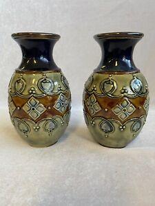 Art Nouveau Royal Doulton Lambeth Blue/Green/Rust Glazed Studio Pottery Vases