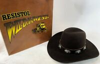 Vintage RESISTOL STAGECOACH Silver Turquoise Brown Felt Western Cowboy Hat 7 3/8