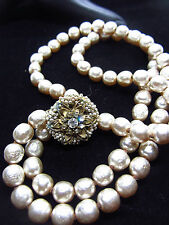 VINTAGE  HASKELL HAND KNOTTED DOUBLE STRAND FAUX  GLASS PEARL NECKLACE `~ L23