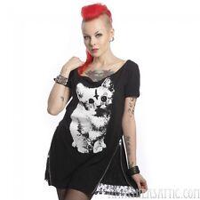 Evil Kitty Cat Top Zipper Accent Goth Gothic Punk Loose Boatneck Cotton Medium
