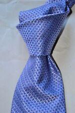 "$225 NWT BRIONI Lilac Blue Geometrics handmade 3.6"" HEAVY woven silk tie ITALY"