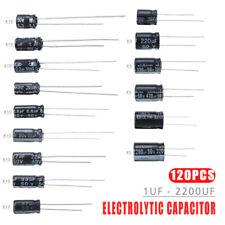 120pcs 50v 15 Values 1uf 2200uf Electrolytic Capacitor Assortment Kit Set Usa