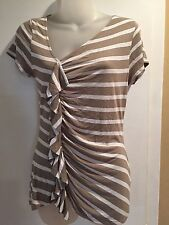 Pretty BANANA REPUBLIC Women's Blouse Ruffled Long Stripes beige/brown small