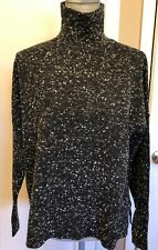 French Connection Women's BLACK WHITE Long-Sleeve High-Neck  Sweater Size S NEW