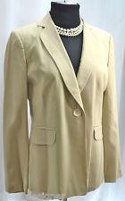 ANN TAYLOR Beige Pinstriped Blazer Jacket Suit coat virgin wool 1 button SZ M 8