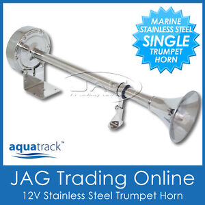 12V 390mm STAINLESS STEEL SINGLE TRUMPET ELECTRIC HORN - MARINE/BOAT/TRUCK/BUS