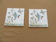 Vintage Screen Craft decorative tiles, hotplate or hanging Ducks flying, pair