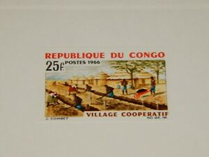Vintage Stamp Card, REPUBLIC OF CONGO,Sunken Color Die Proof Card,1966, Villages