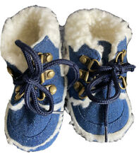Baby Boys Faux Fur Denim Boots Size 9-12 Months