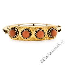 Antique Victorian Handmade 14K Yellow Gold Fine 7mm Coral Open Bangle Bracelet