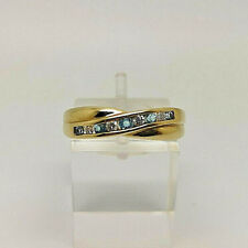 Gorgeous 9ct Gold Blue Topaz & Diamond Eternity Ring.  Goldmine Jewellers.