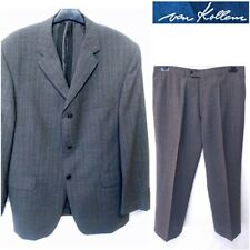 VAN KOLLEM SIZE 44S/W36 L29 MEN`S GREY STRIPED MERINO WOOL 3 BUTTONS SUIT #34