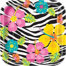 10 X Hawaianos Fiesta Papel Placas Wild Luau Hibiscus Flores & Zebra 7 pulgadas de tamaño