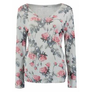 Langarm Shirt Pullover ZABAIONE > Sabrina < florales Muster V-Ausschntt
