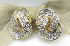 Element Austrian Crystal Clip On Earrings 18K Gold Plate Linked Chain Swarovski
