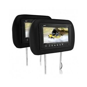 "Headrest Pair Monitors Car SUV 7"" LCD Remote Movies Music DVD Video TV Kids iPod"
