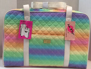 NEW Betsey Johnson Weekender Luggage Bag Pastel Rainbow Design