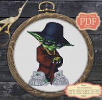 Modern Yoda Cross stitch PDF pattern - Embroidery Hoop Art #017