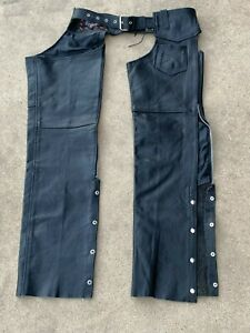 Mens Interstate Black Leather Motorcycle Riding Chaps - L Large
