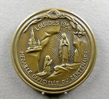 French, Religious Large Medal. 1858 - 1958. Saint Virgin Mary Lourdes Bernadette