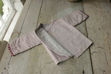 Antique French baby shirt jacket pink soft striped fabric brushed cotton crochet