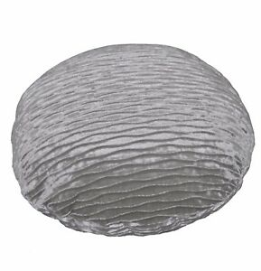 mp02n Silver Grey Folds Shimmer Velvet Round Cushion Cover/Pillow Case Custom