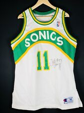 Authentic Schrempf Signed Sonics NBA Trikot Basketball Jersey Kemp Pro Cut Game
