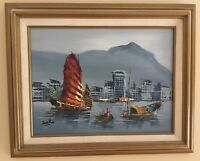 Original Tang Ping Oil Painting Signed Chinese Junks Boats Seascape