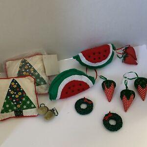 Vintage Plush Holiday Ornaments Strawberries Acorns Wreath Pins Tree Pillows