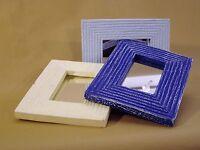 3 x moderne SPIEGEL, Rahmen mit Rillen, 25x20cm, Holz, Handarbeit, Pastellfarben