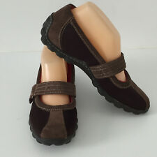 'TIMBERLAND' EC SIZE '7M' BROWN LEATHER & FABRIC SHOE WITH REMOVABLE INSOLE