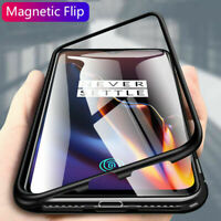 for OnePlus 7/6T Phone Tempered Glass Back Cover Magnetic Adsorption Metal Case