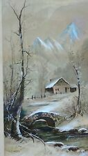ANTIQUE 19c J.HOOVER CHROMOLITHOGRAPH WINTER SCENE WITH SNOW  ON BRIDGE &COTTAGE