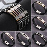 Punk Mens Stainless Steel Leather Bracelets Wristband Cuff Bangle Fashion Gift