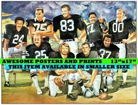 RARE, Vintage NFL, Oakland Raiders Greats, Lithograph. Large Print REPRINT 13x17