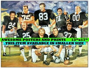 RARE, Vintage NFL, Oakland Raiders Greats, Lithograph. Large Print REPRINT 13x17