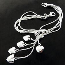 Silver S/F Strand Heart Charm Design Bracelet Bangle Genuine Real 925 Sterling