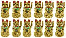 "Lot of 12 PCS  Feng Shui GOLD BECKONING CAT Lucky Waving Kitty Maneki Neko 4"""
