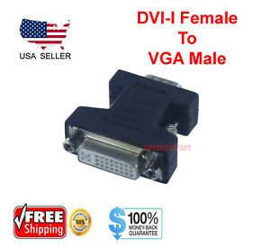 DVI-I Female Analog (24+5) to VGA Male (15-pin) Connector Adapter Desktop PC USA