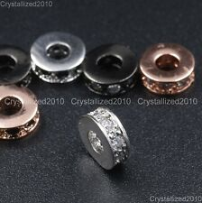Cubic Zirconia Pave Rondelle Bracelet Connector Charm Spacer Beads Silver Gold
