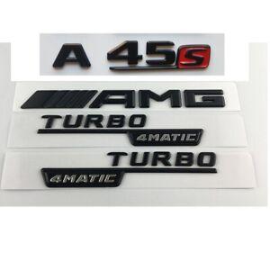 Matt Black A45s AMG TURBO 4MATIC Trunk Emblems Badges for Mercedes Benz