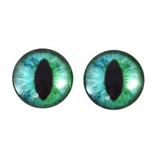Pair of 20mm Green and Blue Cheshire Cat Glass Eyes Cabochons Set