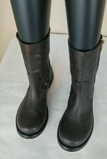 Tory Burch Elyse Booties Golden Color Side Zipper Leather Dark Brown Size 6 SALE