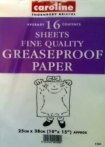 Greaseproof Paper Grease Proof Sheets Cooking Baking Wrapping Pack 16 Caroline