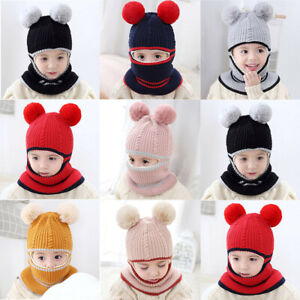 Baby Toddler Kid Boy Girl Winter Warm Knitted Crochet Beanie Hat Cap Scarf Set .